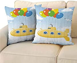 QIAOQIAOLO Pack of 2 Indoor Pillowcase Yellow Submarine Double-Sided Printing 24x24 inch Blue Sky with Colorful Balloons Seagulls Clouds Nursery Kids Birds Periscope Multi Color