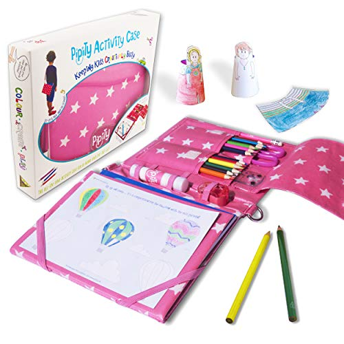 Pipity Arts and Crafts for Kids. Kits with Stationery set + Kids Activity Books: Paper Craft, Art, Travel Games and Puzzle Activities. Great Birthday Gifts for Girls ages 6,7,8,9, 10 Year Olds. Pink Bag