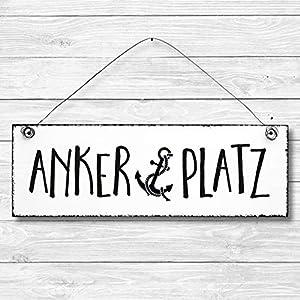 Ankerplatz – Anker maritim Dekoschild Türschild Wandschild aus Holz 10x30cm – Holzdeko Holzbild Deko Schild