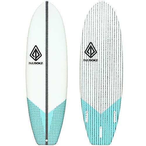 Paragon Surfboards Groveler Hybrid Surfboard   Fun & Easy to Ride Performance Surf Board   Unique Innegra Fiber   5'10'x 21'x 2.60'   Seafoam Green