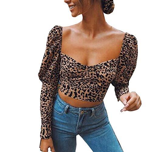 Camiseta Crop Top Mujer Estampado Leopardo Camiseta con Manga Larga Abullonadas Cuello Cuadrado Sexy Top Mujer Ajustado Ideal para Primavera, Casual, Fiesta, etc (Leopardo Marrón, S)