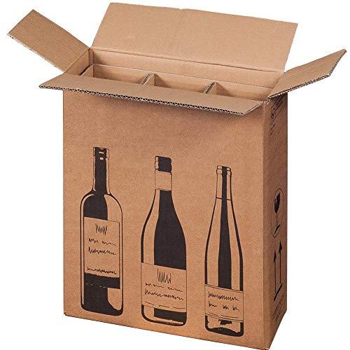 Versandkarton für Flaschen 3er Karton für Flaschen Flaschenkarton 10 Stück