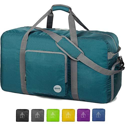 WANDF 32' Foldable Duffle Bag 100L for Travel Gym Sports Lightweight Luggage Duffel 32 inches (100 Liter), Dark Green 32''