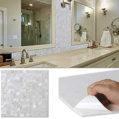 "BeNice Backsplash Peel and Stick Mother of Pearl Tile,Stick on Bathroom Wall Mosaic Tiles Kitchen Shower Fireplace Floor Tiles DIY 3D 12""x12"" White"