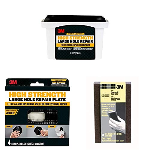 3M High Strength Large Hole Repair, 32 fl. oz, 4-Pack Repair Plates, and Large Area Drywall Sanding Sponge, Fine/Medium, 4.875-in by 2.875-in by 1-in