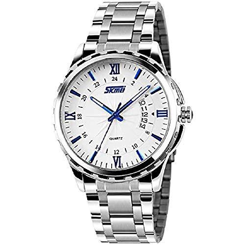 Reloj de Cuarzo Casual clásico para Hombre, Mano Luminosa, Banda de Acero Inoxidable, número Romano, Fecha, Reloj (Azul)
