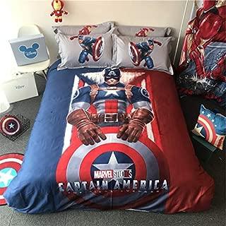 EVDAY 3D Marvel Boys Bedding Set 100% Cotton Captain America Bedding for Kids Including 1Duvet Cover,1Flat Sheet,2Pillowcases Queen Full Twin Size