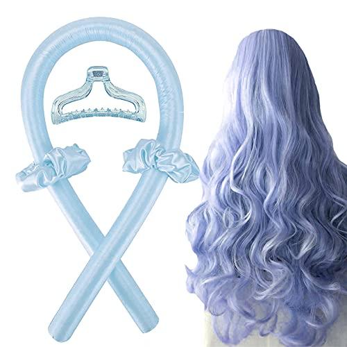 Heatless Lockenwickler Stirnband für langes Haar, Lockenstab Faule Natürliche Weiche Wellenformer Über Nacht schlafen Set ohne Hitze Haarstyling-Werkzeuge für langes mittleres Haar-RosaBlau