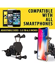 Autofy A-12 X-Grip Premium Bike Mobile Charger & Phone Holder Bike Mobile Holder Version 2 for All Bikes Scooters (5V-2A Black)