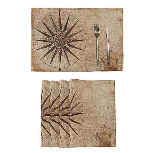 """vvfelixl Vintage World Map Nautical Compass Set of 6 Placemats 18""""X12"""" Table Mats Cloth for Holiday Party Linen-Like Heat-Resistant Dining Home Decorations Everyday Use"""