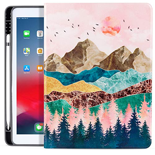 ipad 10.2 2019/2020 7th/8th Case with Pencil Holder, ipad Air/Pro 10.5 Case 2019/2017, Vimorco Premium Leather Smart Protective Folio Shell Cover for Apple ipad 7th Gen, Mountain