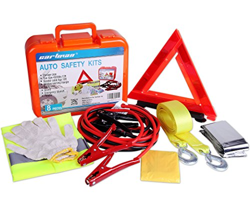 CARTMAN Roadside Assistance Auto Emergency Kit Set, Jump Cables 6Ga + Tow Belt 4500Lbs, in Carry Box