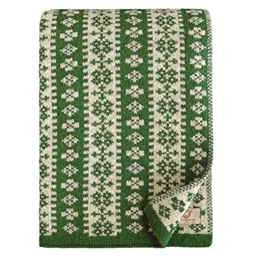 Linen & Cotton Luxus Decke Wolldecke Gestrickt Arctic - 100% Reine Neuseeland Wolle, Grün (130 x 180cm) Wohndecke Kuscheldecke Strick Sofadecke Strickdecke Überwurf Plaid Schurwolle Couch Sofa