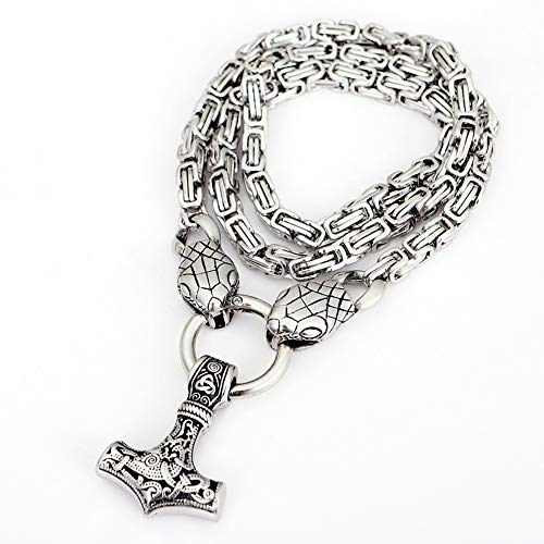 Norse Viking Thor'S Hammer Pendant Necklace, Norway Mythology Python Jormungand, Odin Rune Amulet, Stainless Steel Chain Jewelry, Won't Fade And Corrode, Durable,Silver,27.6INCH