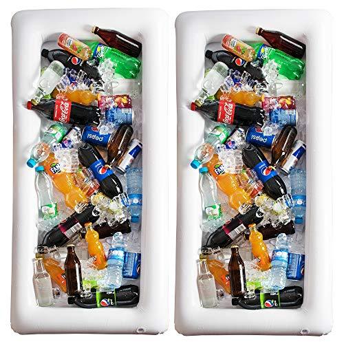 Aufblasbarer Billardtisch Servierbar – 2 Stück großes Buffet-Tablett Server mit Ablaufstopfen – halten Sie Ihre Salate und Getränke eiskalt – für Partys drinnen und draußen