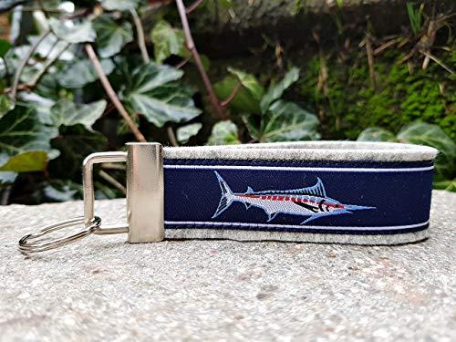Schlüsselanhänger Schlüsselband Filz hellgrau Webband Marlin Fisch blau rot weiß Geschenk!