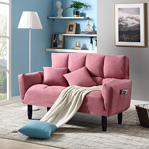 Convertible Futon Sofa Bed with 2 Pillows, Twin Size Sleeper Sofa Futon Couch, Recliner Couch with Adjustable Armrest and Rubber Legs, Living Room Sofa with 3-Angle Backrest for Small Space (Pink)