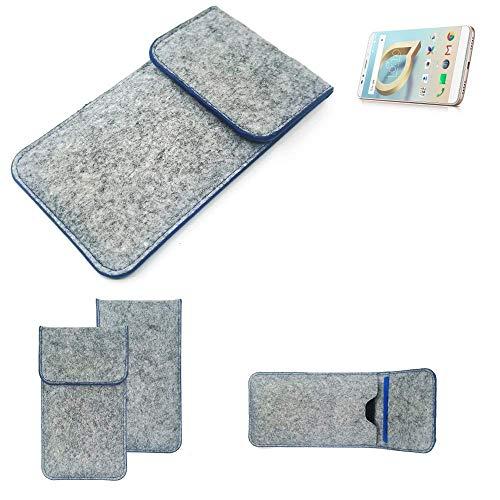 K-S-Trade Filz Schutz Hülle Für Alcatel A7 XL Schutzhülle Filztasche Pouch Tasche Hülle Sleeve Handyhülle Filzhülle Hellgrau, Blauer Rand