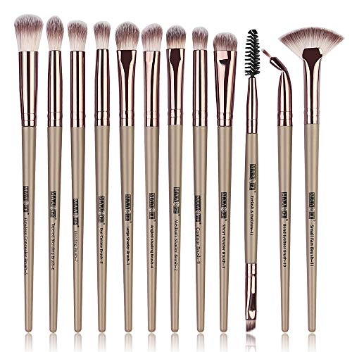 Maange 12PCs Set de pinceles de maquillaje profesional para ojos con mangos de madera de primera calidad para sombra de ojos, cejas, delineador de ojos, mezcla(champán)