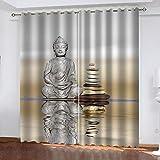 OIUEUNM Estatua de Buda Cortinas opacas Cortinas de Dormitorio Ojales Cortinas Set Opaco de 2 – 300 cm x 270 cm