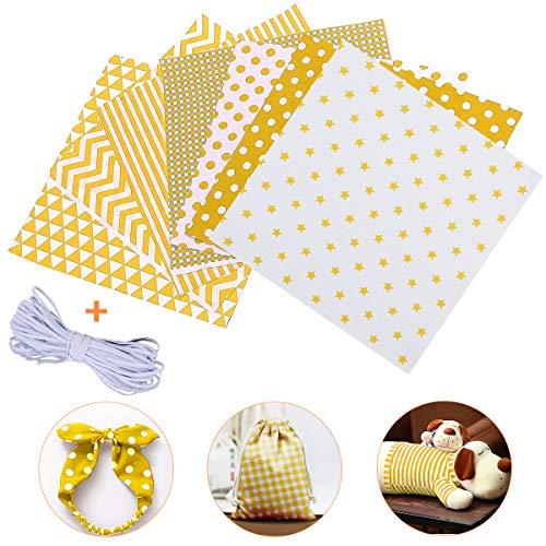 Jeteven 7Pcs Baumwollstoff Meterware Stoffpakete 50 x 80cm + 4m Gummibänder, Nähstoffe Patchwork Stoffe 100% Baumwolle DIY Stoff, für Puppenkleider Ärmel Haarband Handwerk, (Gelb)
