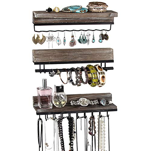 J JACKCUBE DESIGN Rustic Wood 3-Piece Wall Mounted Jewelry Rack Set Hanging Necklace Holder Organizer for Accessory Bow Headband - MK591A