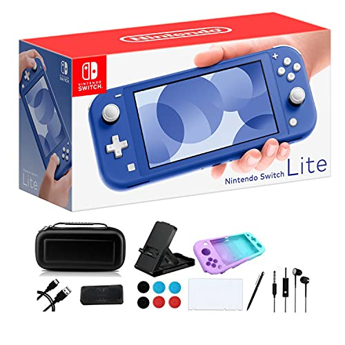Newest Nintendo Switch Lite - 5.5' Touchscreen Display, Built-in Plus Control Pad, Built-in Speakers, 3.5mm Audio Jack, 802.11ac WiFi, Bluetooth 4.1, 0.61 lb, iPuzzle 9-in-1 Carrying Case - Blue