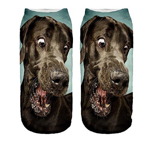Ferocity Lustige Socken Sneaker Halbsocken Strümpfe Sportsocken Füßlinge mit Motiv 3D, Brown Dog, 36 - 40