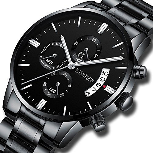 KASHIDUN Men's Watches Luxury Sports Casual Quartz Wristwatches Waterproof Chronograph Calendar Date Stainless Steel Band Black Color TL-QHYD