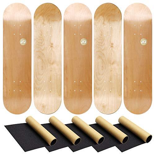 JFJ Maple Skateboard Decks Double Tail Skateboard Light Decks Free Skateboard Grip Tape (Wood, 5 PCS)