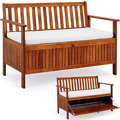 Gartenbank 2in1 ✔ mit Auflagenbox ✔ inkl Sitzauflage 120cm – Sitzbank Holzbank Parkbank Bank - 2