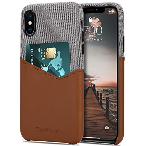 Tasikar Funda iPhone XS MAX Carcasa Cartera de Cuero y Tela con Tarjetero Estuche Compatible con iPhone XS MAX (Marrón)