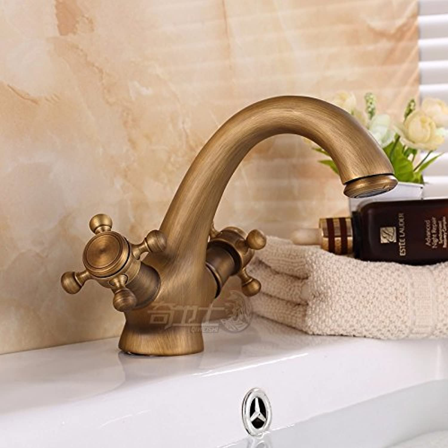 SHLONG Tap Antique Faucet Hot and Cold All Copper Double Handle Continental