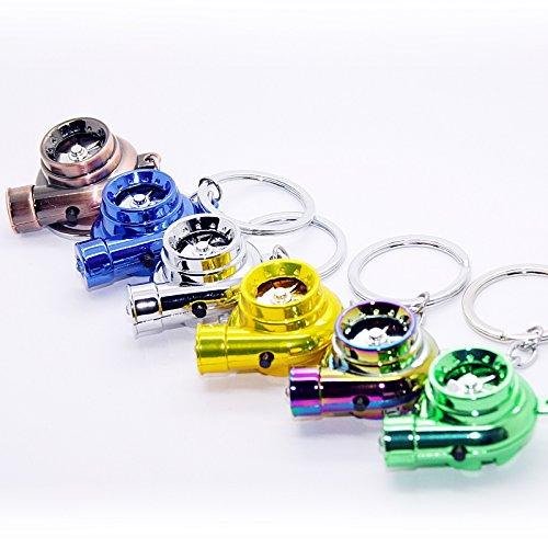 LED-Mafia Elektro Turbo Schlüsselanhänger - Mit Sound & Licht Turbolader Keychain Chrom Metall Anhänger Schlüssel (goldfarben)
