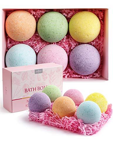 Bath Bombs Gift Set, Anjou Upgraded 6 x 4.0 oz Scented Vegan Natural Essential Oils, Rapid Dissolution, Fizzy Spa Moisturizes...