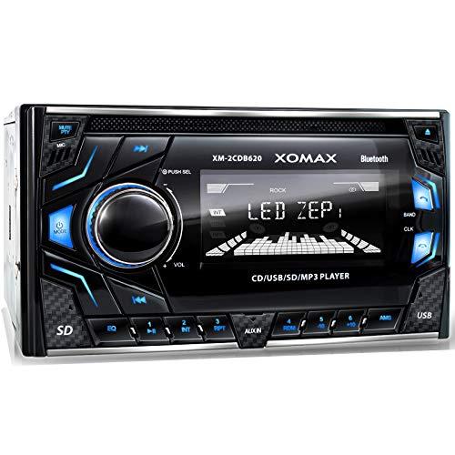 XOMAX XM-2CDB620 Autoradio mit CD-Player I Bluetooth Freisprecheinrichtung I 3 Farben einstellbar (Rot, Blau, Grün) I USB, Micro SD, AUX I Anschluss für 2X Subwoofer I 2 DIN