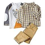 VESNIBA Camiseta de manga larga para niños con dibujos animados, camiseta + pantalón + chaqueta a cuadros, traje de tres piezas amarillo 90 cm