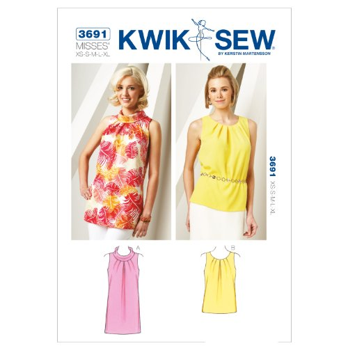 Kwik Sew Patroon K3691 – klein – medium – groot – maat XS extra grote tuniek en top, wit, 1 stuk