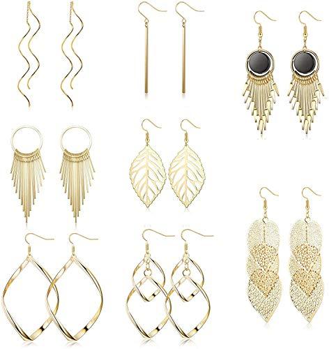 Finrezio 8 Pairs Wave Threader Dangle Earring Long Bar Double Twist Leaf Drop Earring Set for Women Gold
