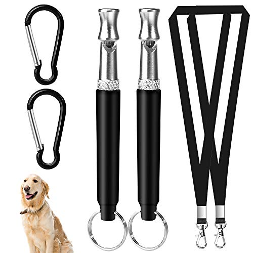Hicdaw 2 Sets Dog Whistle for Training to Stop Barking Silent Dog Whistle Adjustable Pitch Ultrasonic Training Dog Whistles with Keyring and Lanyard