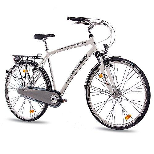 Luxe Alu City Bike, Trekkingfiets, herenfiets, Chrisson Seretto 2.0 met 3G Shimano Nexus StVZO wit mat
