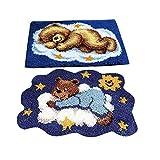 IPOTCH Acryl-Mischgewebe Haken Kit, 2 Bären Knüpfteppich für Kinder und Erwachsene
