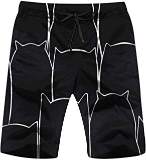 Hand Drawn Black Cat Animals Animal Mens Board Shorts Beach Lightweight Home Casual Shorts Swim-Trunks with Quick Dry