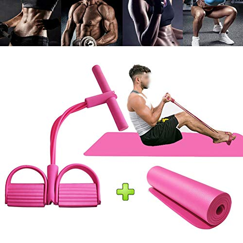 Four-Tube Multifunctionele Pull Rope Pedal, Elastic Pull Rope Hometrainer Pedaal Resistance Band Met Yoga Mat For Sit-up Bodybuilding Expander (Color : Pink)