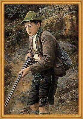 Kunstdruck Junger Wildschütz Paul Wagner Jagd Gewehr Gebirge Hut Pirsch Wilderer A2 682