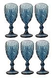 Vintage 6 Piezas Set Roma Copa de Vino Cristal Gafas Copas de Vino Copa de Helado Vaso de Agua Vaso de Trago Largo Jarra - Azul