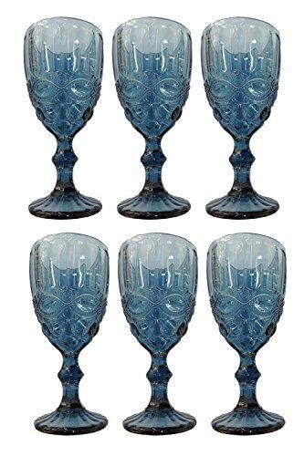 Vintage 6 Teile Set Weinglas Schleife Glas Gläser Weingläser Eisbecher Wasserglas Longdrinkglas Wasserkrug (blau)