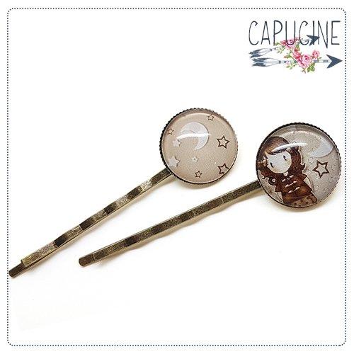 2 pinces bronze cabochons verre fillette - pinces cheveux cabochon - Barrettes cheveux illustrées - Ballade Nocturne