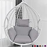 wide smile Hanging Basket Chair Cushion Egg Swing Chair Cushions Hammock Chair Cushions Thick Nest Back Pillow for Indoor Outdoor Patio Yard <span class='highlight'>Garden</span> Beach Office Grey(No Chair)