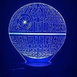 Luz de noche 3D Lámpara de luz nocturna LED 3D Lámpara de la estrella de la muerte 7 Cambio de color Luz nocturna USB Regalo de vacaciones Lámpara decorativa para habitación de niños